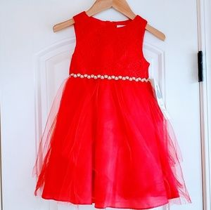 Rare Editions Red Tulle Dress Girls 3t